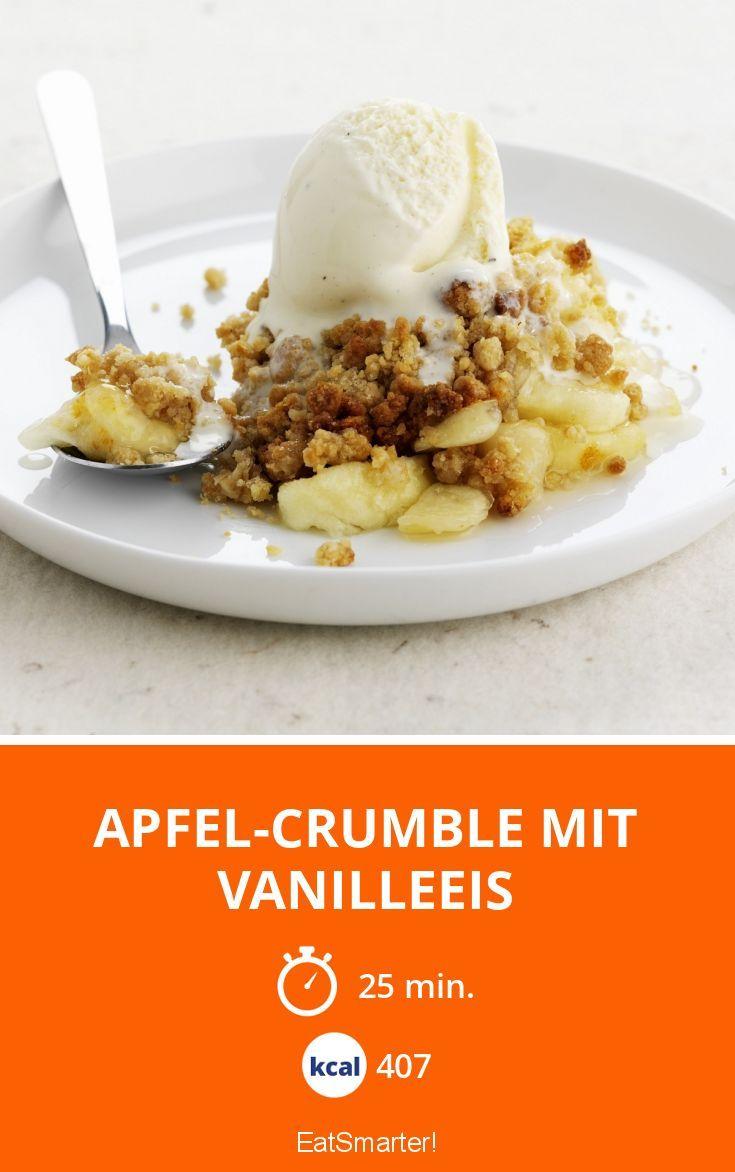 Apfel-Crumble mit Vanilleeis
