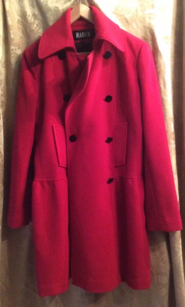 Marvin Richards Wool Coat Jacket Red Shell Black Liner Size Large DressyJanet D