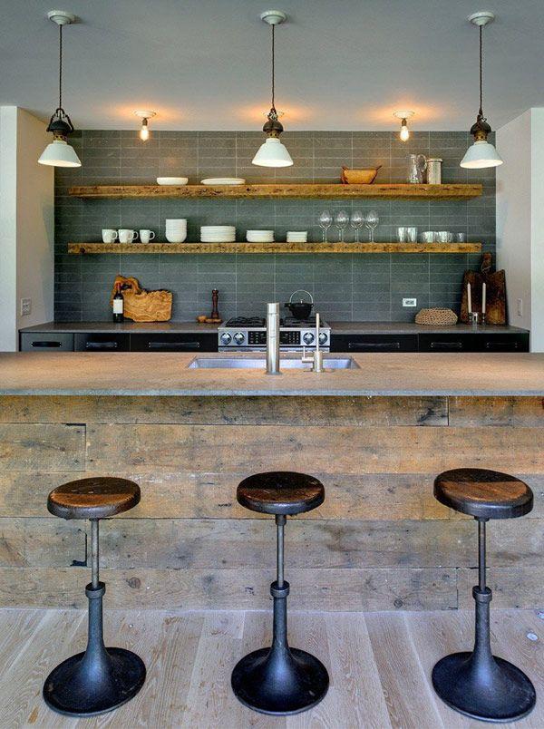 .: Open Shelves, Idea, Kitchens Design, Modern Rustic, Rustic Kitchens, Basements Bar, Robins, Bar Stools, Modern Kitchens