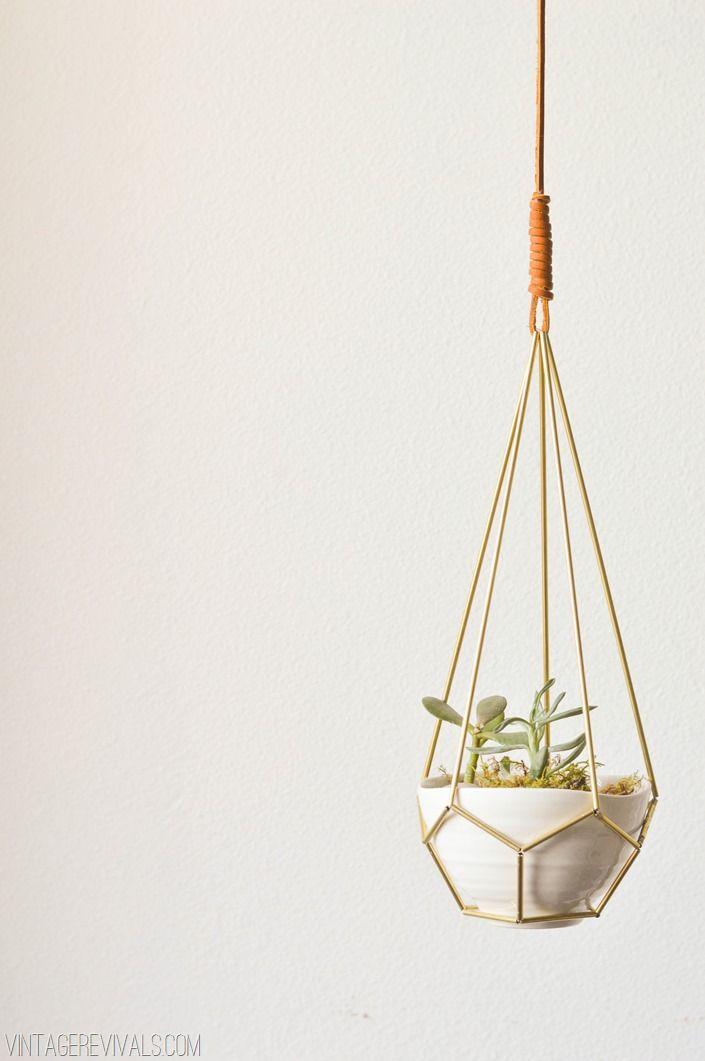 DIY Leather and Brass Teardrop Hanging Planter - Vintage Revivals