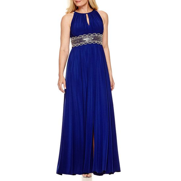 R&M Richards Sleeveless Beaded Formal Gown ($90) ❤ liked on Polyvore featuring dresses, gowns, petite, petite maxi dress, petite evening gowns, halter maxi dress, formal maxi dresses and blue ball gown
