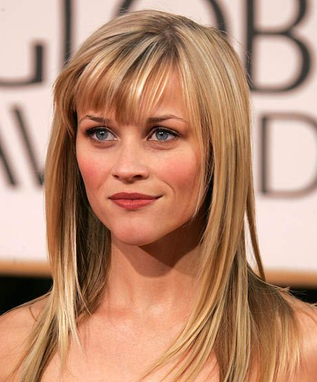 The best celebrity bangs for heart-shaped faces: A collective gasp was heard when Reese Witherspoon showed up to the 2007 Golden Globes with these side-swept bangs, the perfect style to suit her heart-shaped face.