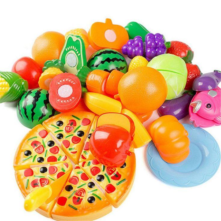 24PCS Children Play House Toy Cut Fruit Plastic Vegetables Pizza Kitchen Baby Classic Kids Toys Pretend Playset Educational Toys