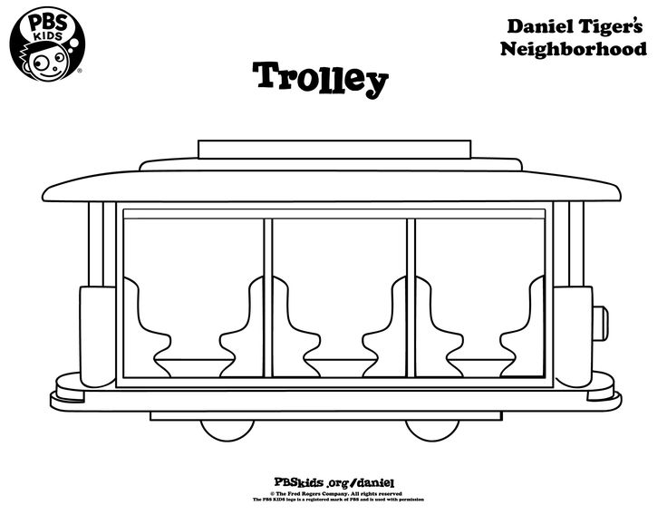 Trolley Coloring Page Danieltiger Wqed Pbskids