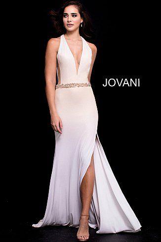 8cbd0da0fb7 White Gold Fitted Open Back Jersey Prom Dress 42722  GoldDress  PromDress   Prom2018  Jovani
