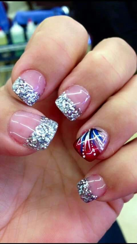 Red, white and blue nails!
