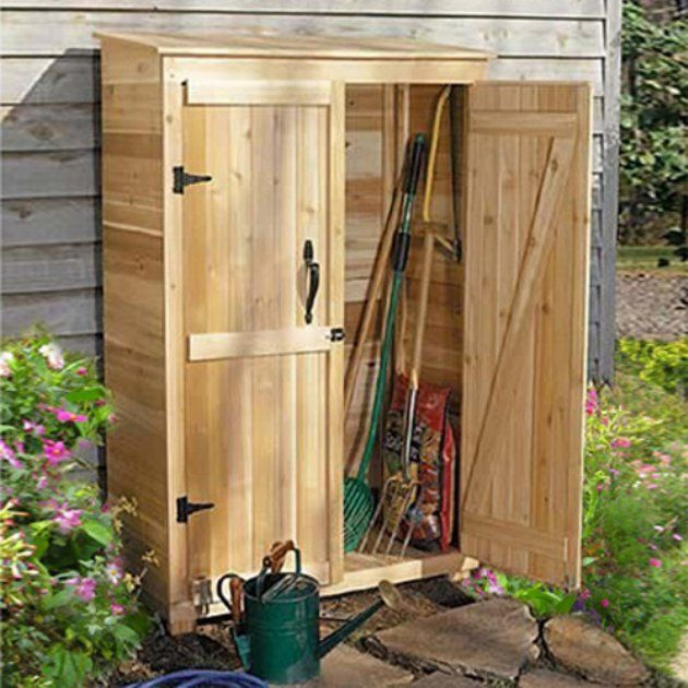 Pool supply items, side of house  Outdoor Living Garden Chalet 4 x 2 ft. Tool Shed