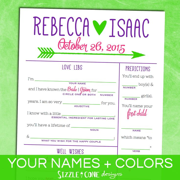 Alternative Wedding Guest Book Idea! Mad Libs, Newlywed Predictions, Well Wishes, Guest Sketch, & more. Fun for reception activity or rehearsal dinner game, too! – A personalized printable by Sizzle Cone Designs