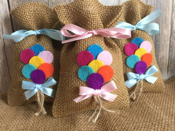10 baby shower burlap favor bags balloons favor bag by PinKyJubb