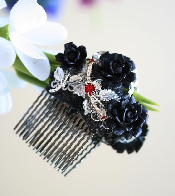 Hair Comb Goth Black Gothic Wedding Comb Hair