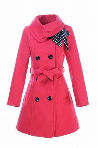 This coat could make me fall in love with the color pink.   But I would be more comfortable with black and a pink bow.