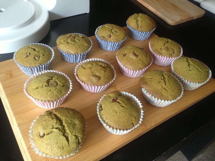 Green tea choc chips cupcakes