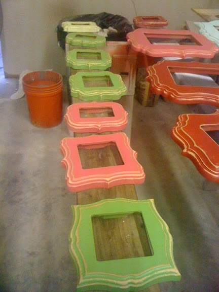via Amy Benoit. Could DIY these by buying frames @ craft store & rubbing paint on.