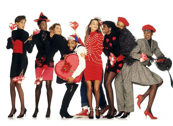 Patrick Kelly and models, spring 1989, photo by Oliviero Toscani
