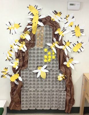 Bee bulletin board with egg cartons.