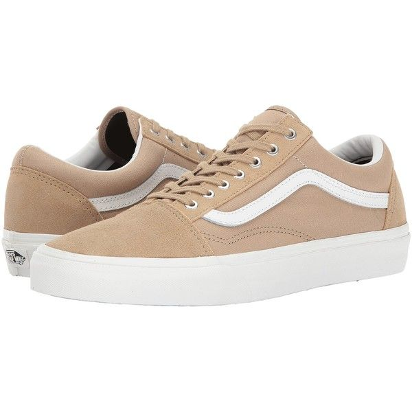 Vans UA Old Skool (Khaki/Blanc Snake) Shoes ($60) ❤ liked on Polyvore featuring shoes, leather shoes, shock absorption shoes, breathable shoes, slim shoes and khaki shoes