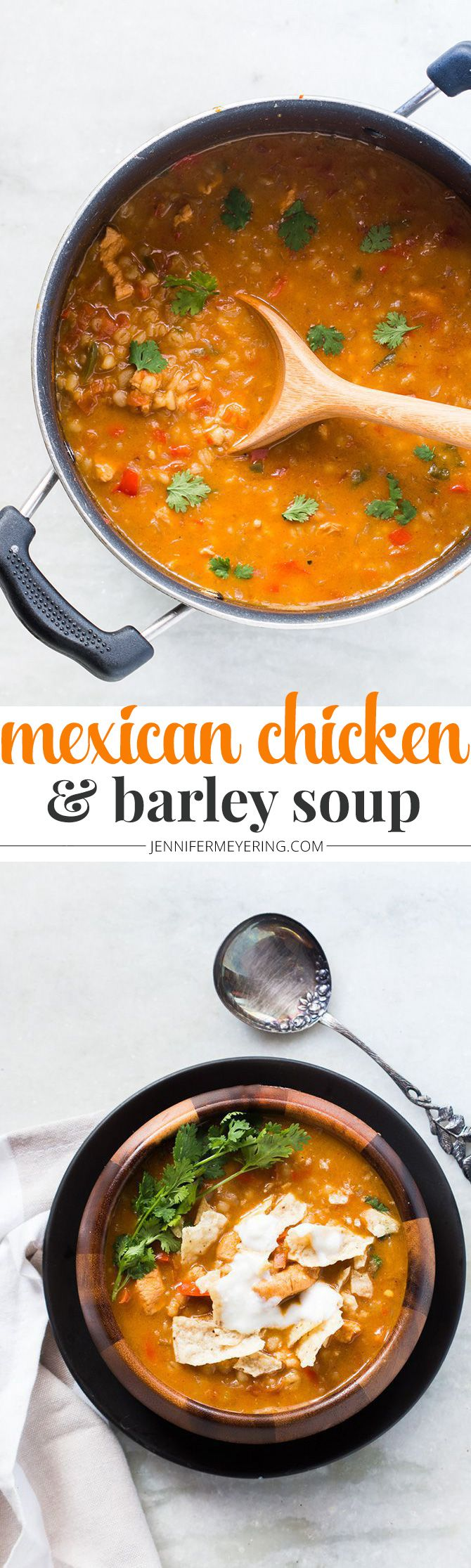 Mexican Chicken and Barley Soup - JenniferMeyering.com