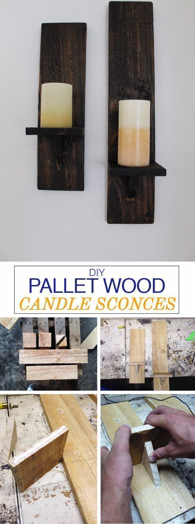 Best DIY Pallet Furniture Ideas - DIY Pallet Wood Candle Sconces - Cool Pallet Tables, Sofas, End Tables, Coffee Table, Bookcases, Wine Rack, Beds and Shelves - Rustic Wooden Pallet Furniture Made Easy With Step by Step Tutorials - Quick DIY Projects and Crafts by DIY Joy http://diyjoy.com/best-diy-pallet-furniture-ideas #woodworkingprojects #WoodworkingPlansWineRack #palletfurnitureeasy #rusticfurniturediy #wineracks #coolwoodprojects #diyfurniture #candles #diysofa #sofaideas