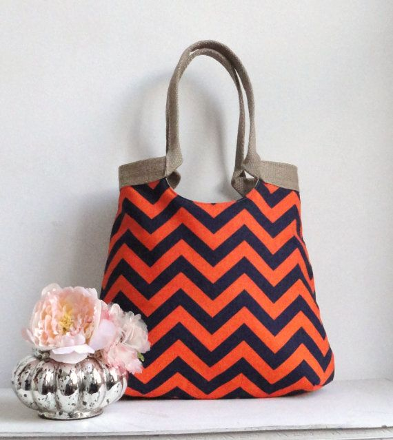 """Not  """"over the moon"""" for trendy chevron. However, this would be a cute bag on game day."""