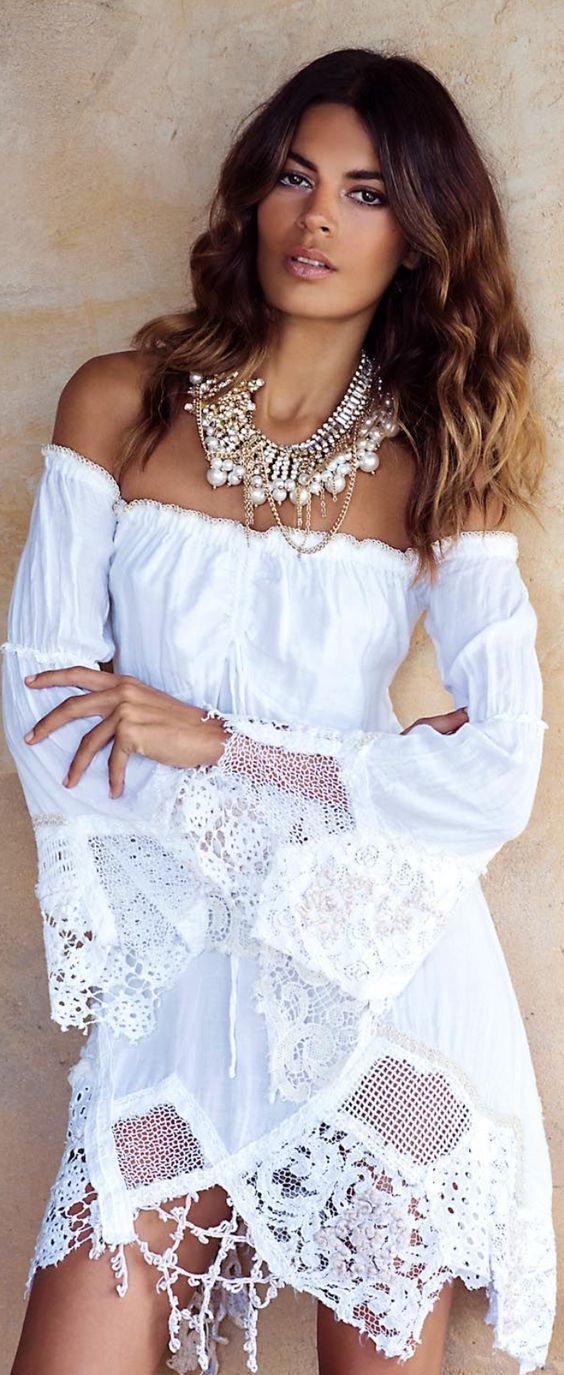 White bardot dress with lace edge and pearl necklace, boho style. bardot-dress summer-dress