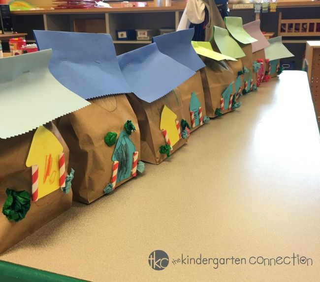 This paper bag gingerbread house craft is a fun holiday craft for kids! Help develop fine-motor skills, shape recognition, and following directions.