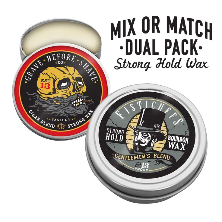 Mix or match any of our four 1 oz. Strong hold Mustache Wax's for the pair of your favorites!Choose between:1 oz. tin Fisticuffs Original Strong Hold Mustache wax1 oz. tin Fisticuffs Gentlemen's Blend Strong Hold Mustache wax1 oz. tin Fisticuffs Pine Strong Hold Mustache wax1 oz. tin Fisticuffs GBS Cigar Blend Strong Hold Mustache wax