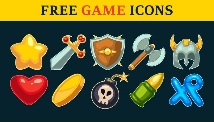 Action Game Icons Set | Pixaroma | We extract aroma from pixels.