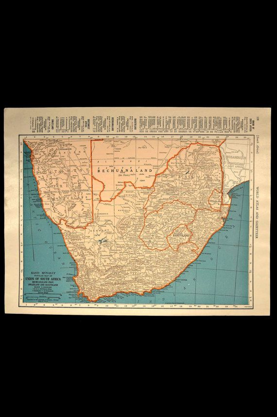 Vintage Map South Africa Continent 1940s Original 1945 Wall Decor