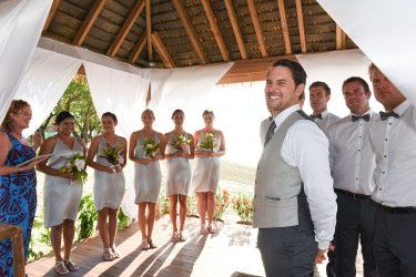 Silver dresses for the bridesmaid Ceremony at the Sofitel Fiji bedroom by Anais Photography