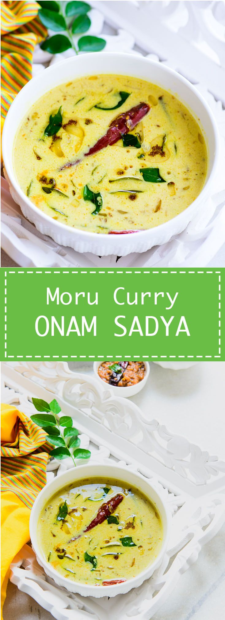 Moru Curry Kerala style seasoned Buttermilk curry for Onam Sadya. This quick and easy to make Kerala recipe is healthy and delicious as well. Food Photography and Styling by Neha Mathur.