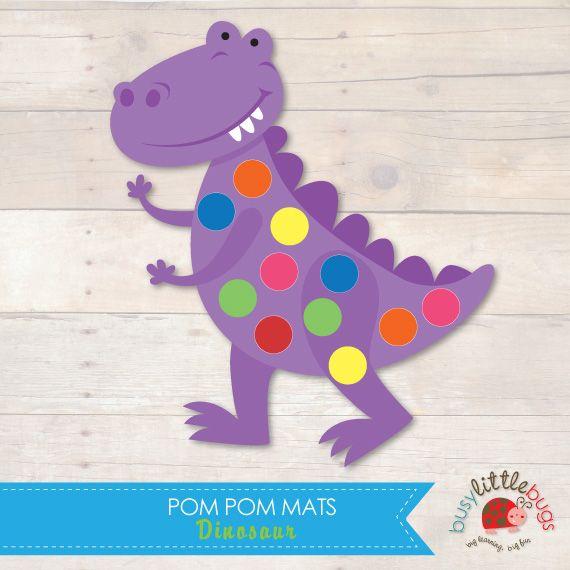 Dinosaur Pom Pom Mats great for fine motor skills by Busy Little Bugs