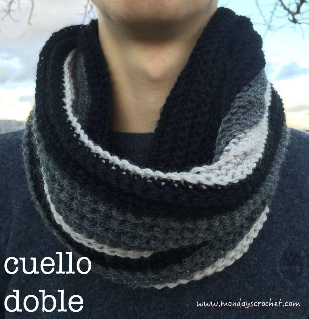 ಌ✿༺✿Bufandas Tejidas ღ✿༻ Patrón gratuito cuello doble Free pattern double cowl