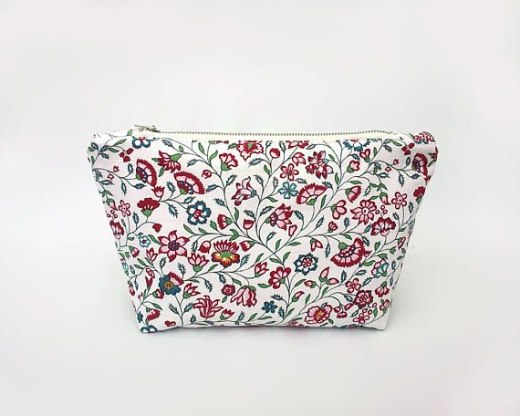 Floral bag, Makeup bag with red flowers, Spring travel bag, Red cosmetic bag, Trousse, Make up bag, Toiletry, Flowers zipper pouch