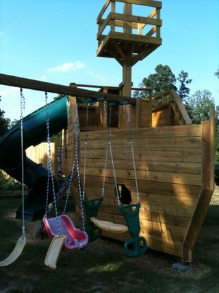 Pirate ship outdoor playset plans woodworking projects for Wooden jungle gym plans
