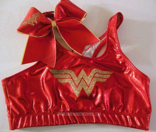Wonder Woman Metallic Sports Bra and Bow Set by SparkleBowsCheer, $37.99