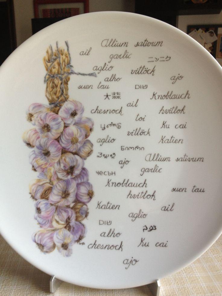 Plato de porcelana pintado mano dise o dibujos porcelana for Platos porcelana
