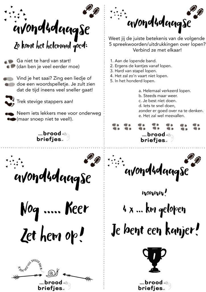 Bij ons start volgende week de avond4daagse (een variant daarvan). Natuurlijk maakten we een paar toepasselijke broodbriefjes: voor de nodige schouderklopjes & energie. Veel wandelplezier!