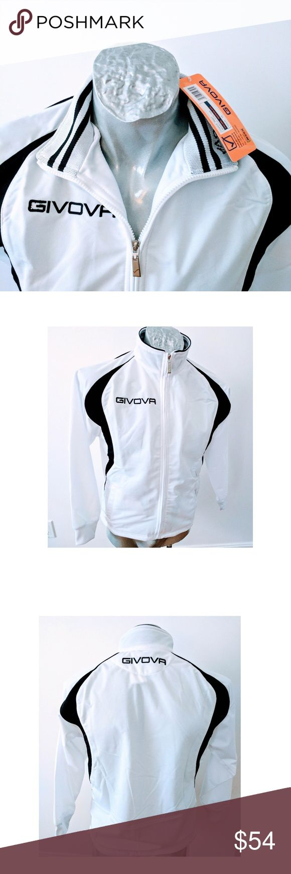 "Givova Jacket Italy Track Sports Zip White Black Givova White Black Track Warm Up Jacket  New w tags  Italian Designer  White and Black   Embroidered Logos  Long Sleeve  Zipper  Measured Flat:   Size XS  Length Center back ( neck seam to hem) 24""  Width Arm pit to arm pit 19""  Sleeve ( mid back neck to cuff) 30""  Size S  Length Center back ( neck seam to hem) 26""  Width Arm pit to arm pit 20.5""  Sleeve ( mid back neck to cuff) 33.5""  New with tags Givova Jackets & Coats"