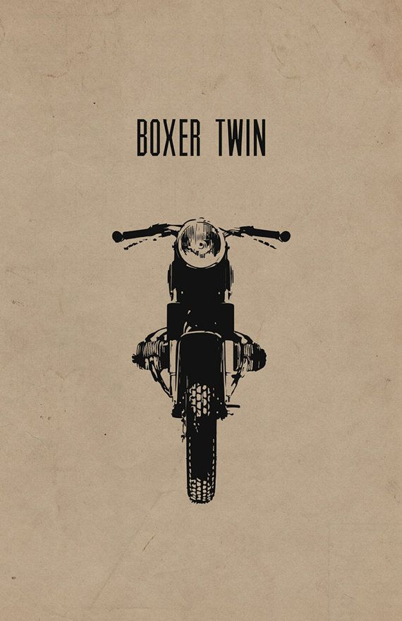 "Limited Edition ""Boxer Twin"" Cafe Racer Motorcycle Poster on 100% Recycled Card Stock (11x17 in)"