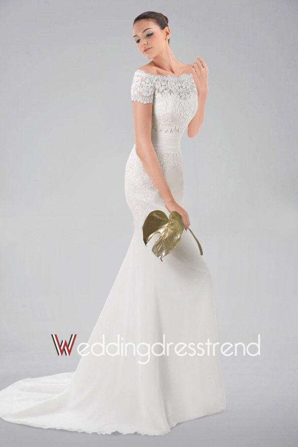 Glamorous Ruched Sashed Sheath Lace Wedding Dress