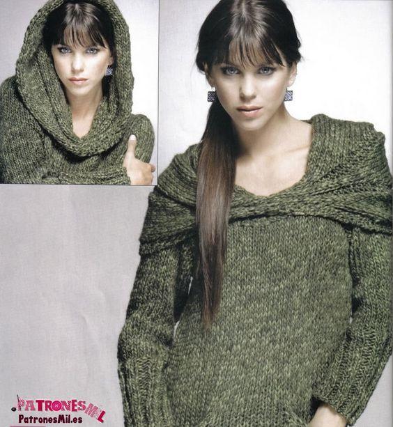 Jersey tejido a punto o dos agujas con capucha para mujer.