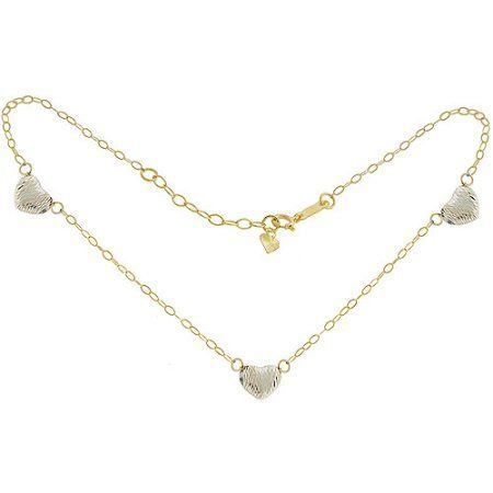 Heart 14kt Yellow and White Gold Anklet, Women's, Size: Adjustable