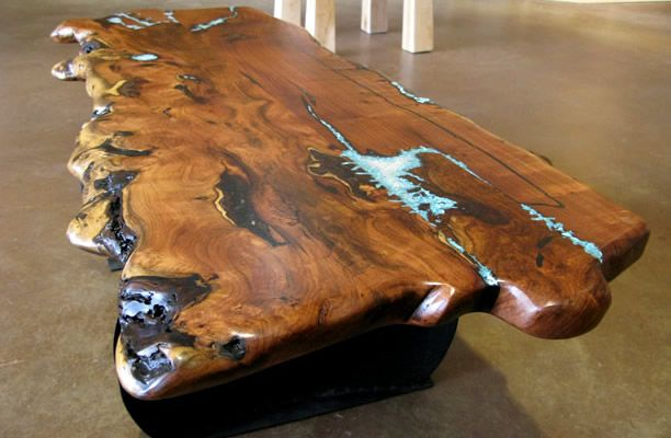 Solid Wood Table with turquoise inlay for partners desk. Omg