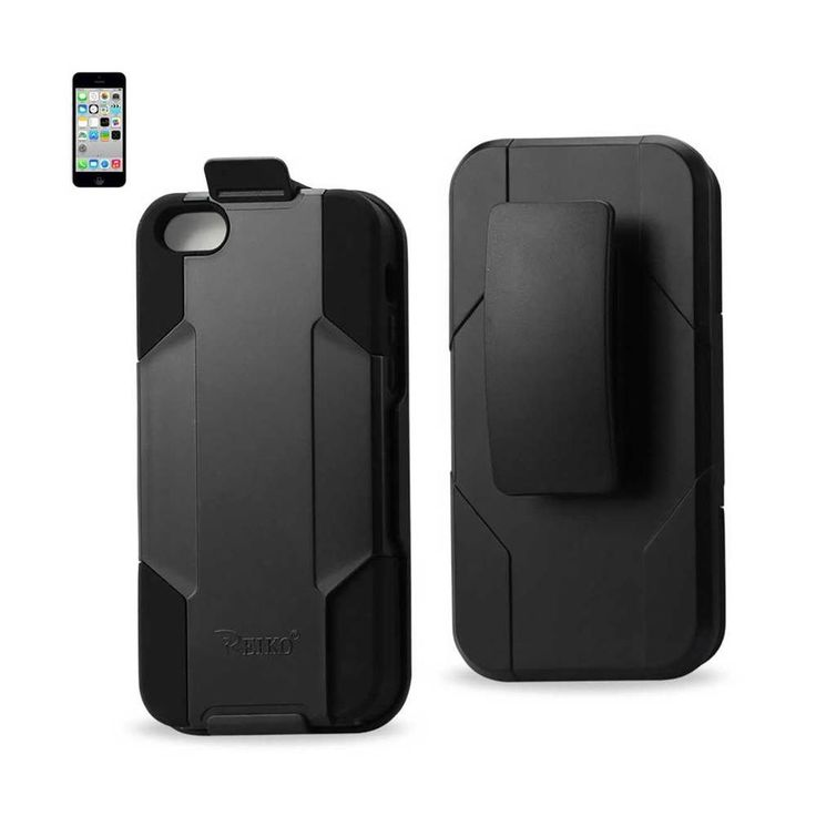 Reiko REIKO IPHONE 5C 3-IN-1 HYBRID HEAVY DUTY HOLSTER COMBO CASE IN BLACK #Iphone5c