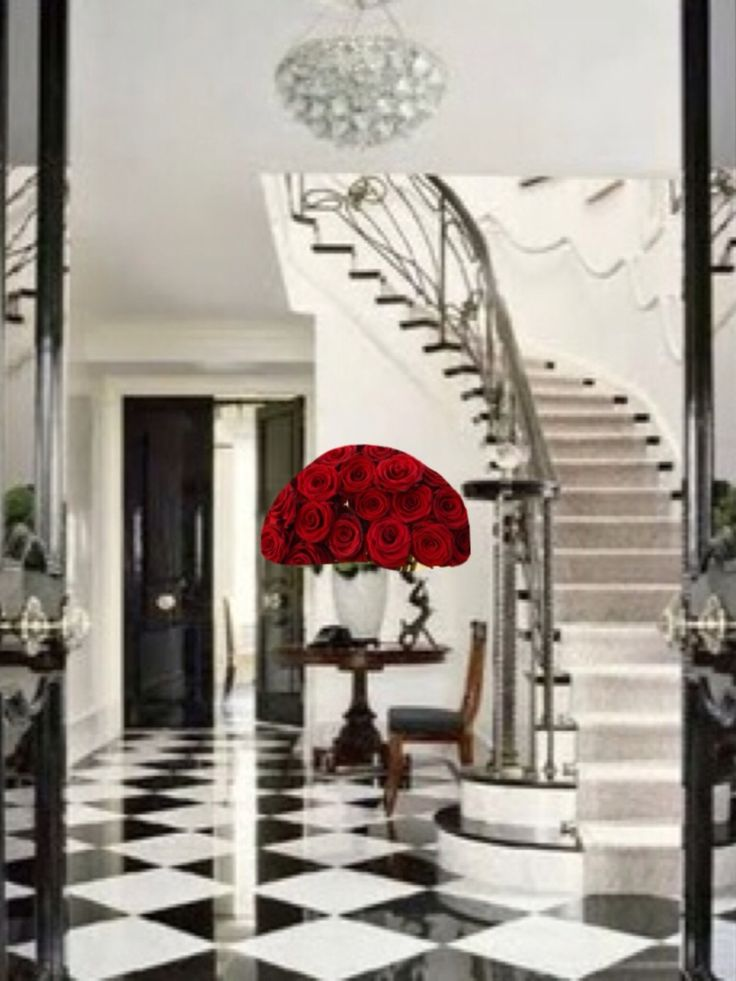 Gorgeous Entry Hall I Photo Shopped The Red Roses In