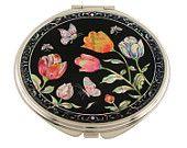 Mother of Pearl Makeup Mirror tulip flower Design Cosmetic mirror Handbag Purse handheld Compact hand pocket Mirror