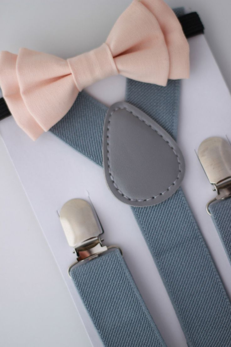 SUSPENDER & BOWTIE SET.  Newborn - Adult sizes. Light grey Suspenders. Iced Peach bow tie. by SweetnSwag on Etsy https://www.etsy.com/listing/204241186/suspender-bowtie-set-newborn-adult-sizes