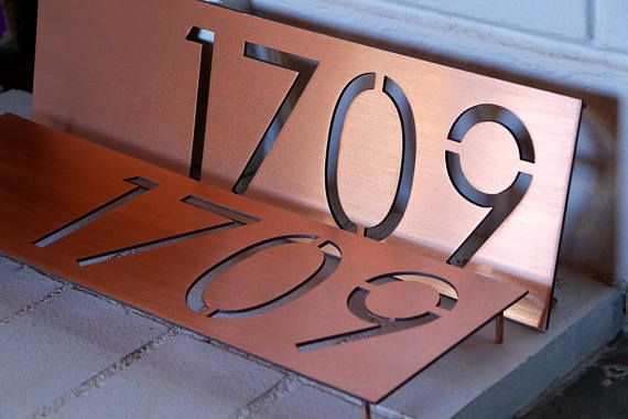 Two Copper House Numbers Address Numbers Address Plaque House Plaque Copper House House Numbers Home Remodeling