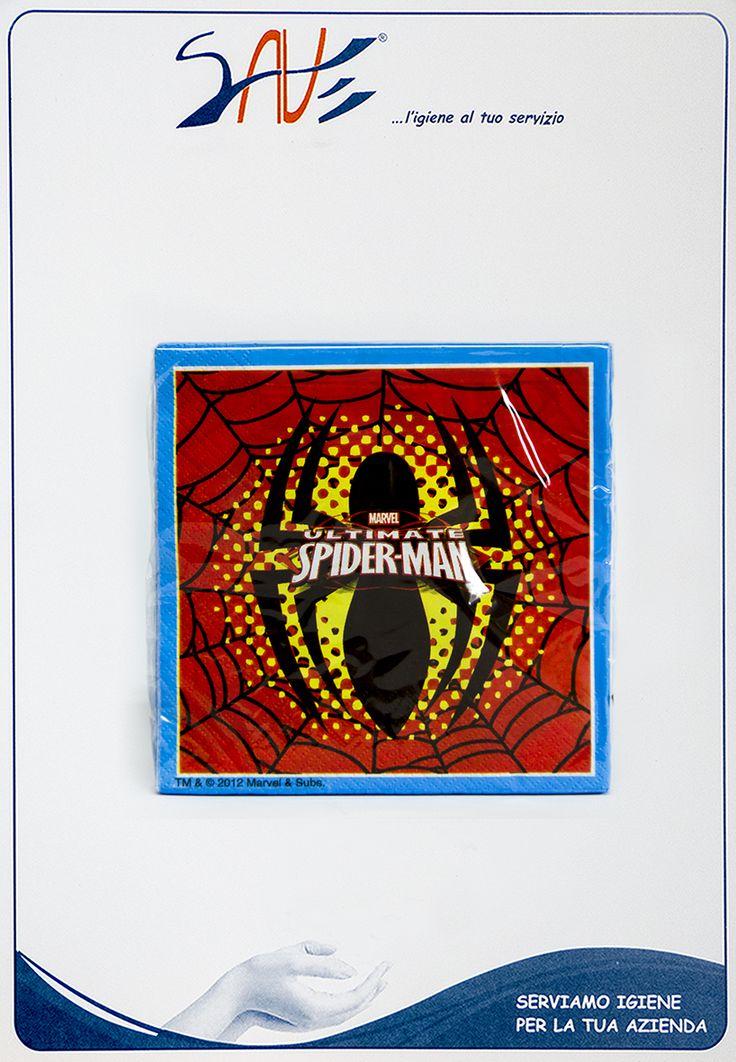 Tovaglioli per feste Spiderman con dimensioni 33 x 33 cm disponibili in confezioni da 20 pezzi.