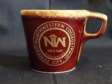 Vintage Hull Pottery ~ Brown Drip Cup/Mug ~ NORTHWESTERN COLLEGE ORANGE CITY IA